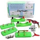 DigHealth Elektronik Schaltungen Set, STEM Montessori Lernspielzeug, Stromkreise mit Motor und Glühbirne, Elektrotechnik Experimentierkasten für Kinder Physik Lernstarter